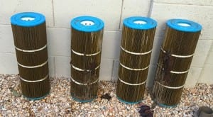 Cartridge filters, before cleaning 12poolsarizona 12 pool service